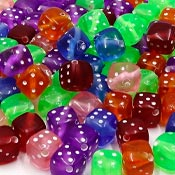 8mm Transparent Acrylic Dice Bead Mix 100 Pieces