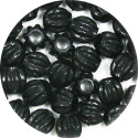 Black Fluted Oval Pony Bead 20 Pieces