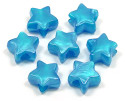 Blue Pearl Star Pony Bead 12 Pieces