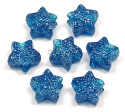 Blue Glitter Star Pony Bead 12 Pieces