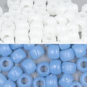 UV Reactive White To Blue 9x6 mm Pony Beads 50 Pieces