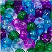 Purple Green Blue Glitter Mix 9x6 mm Pony Beads 50 Pieces