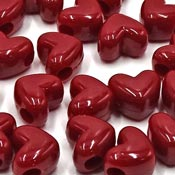 Deep Red Heart Pony Beads - Horizontal Hole