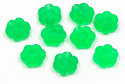 Frosted Green Double Sided Flower Bead 20 Pieces