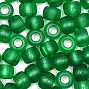 Green Frosted 9x6 mm Pony Beads 50 Pieces