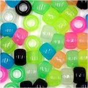 Glow Party Mix 9x6mm Pony Beads 50 Pieces