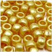 Gold Pearl 9x6mm Pony Beads 50 Pieces