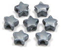 Silver Pearl Star Pony Bead 12 Pieces