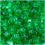 Green Glitter 9x6 mm Pony Beads 50 Pieces