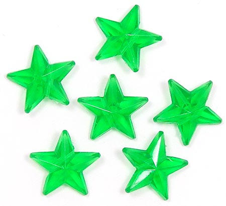 Transparent Green 16x16 Faceted Star Beads 20 Pieces