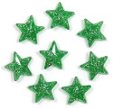Green Glitter 11x11 Faceted Star Beads 12 Pieces