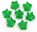 Green Silver Glitter Star Pony Bead 12 Pieces
