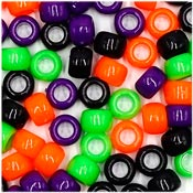 Halloween Mix 9x6mm Pony Beads 50 Pieces