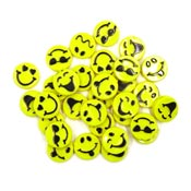 Flat Yellow Plastic Smiley Face Emoticon Beads 30 Pieces