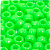 Lime Green 9x6 mm Pony Beads 50 Pieces