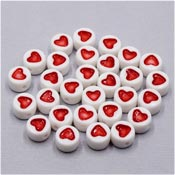 Little Round White Beads With Red Hearts 20 Pieces