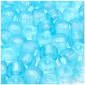 Light Turquoise Frosted 9x6mm Pony Beads 50 Pieces