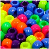 Neon Bright Opaque 9x6mm Pony Bead Mix 50 Pieces