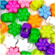 Bright Flower Pony Bead Mix 50 Pieces