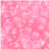 Pink Frosted 9x6mm Pony Beads 50 Pieces