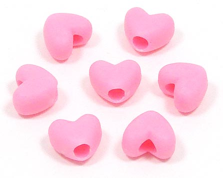 Satin Pink Heart Pony Beads 20 Pieces