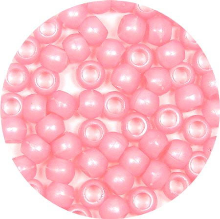 Pink Pearl 7x6mm Pony Beads 50 Pieces