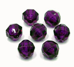 Purple 12mm Faceted Round Acrylic Beads