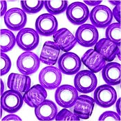 Purple Transparent 9x6mm Pony Beads 50 Pieces