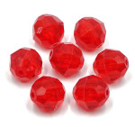 Red 12mm Faceted Round Acrylic Beads