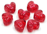 Transparent Red Glitter Heart Pony Beads