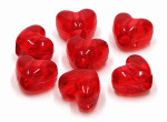 Transparent Red Heart Pony Beads