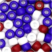 Patriotic 9x6mm Pony Beads 50 Pieces