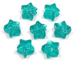 Teal Glitter Star Pony Bead 12 Pieces