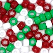 Christmas Colors Mix 9x6mm Pony Beads 50 Pieces