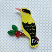 Bella The Black Naped Oriole  Brooch By She Loves Blooms