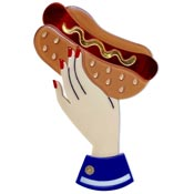 Bessie's Special Hand Holding Hot Dog Brooch By Lipstick & Chrome