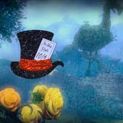 Black Holo Mad Hatters Hat Brooch By Tantalising Treasures