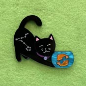 Pisces Black Kitty Brooch By Wintersheart