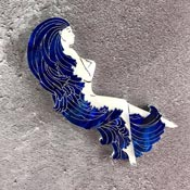 Woman In The Wave Brooch By Kimchi And Coconut Deep Blue