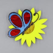 Sunflower Butterfly Brooch By Tantalising Treasures Blue