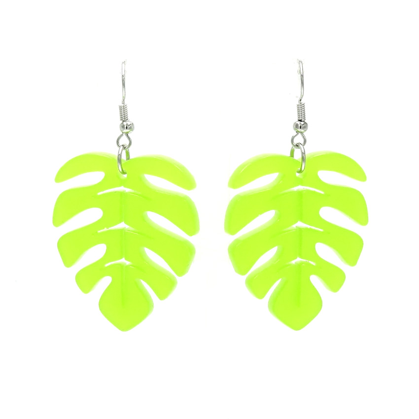 Frosted Chartreuse Monstera Leaf Earrings By IJSY