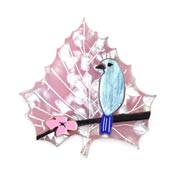 Cherry Blossom Blue Bird Leaf Brooch By Wintersheart