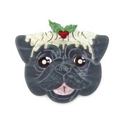 Christmas Pug Brooch In Gray Black By Gory Dorky