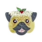 Christmas Pug Brooch In Fawn By Gory Dorky