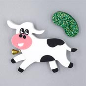 No Beans For Me Cow And Magic Bean Brooch Set By Tantalising Treasures - Last one!