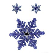 Dark Blue Snowflake Pin And Earring Set By Tantalising Treasures