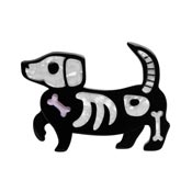 Doggo Darkness Skeleton Dachshund Brooch 2020 Recolor By Erstwilder - Imperfect