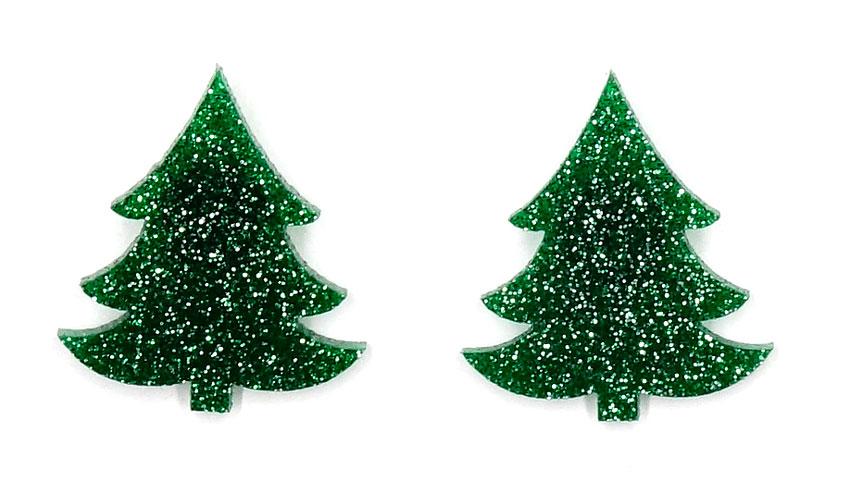 dark green glitter christmas tree earrings