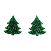 Dark Green Glitter Christmas Tree Earrings