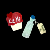 Eat Me Drink Me Brooch Set By Tantalising Treasures